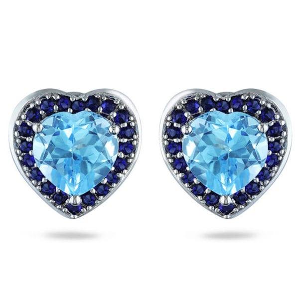 Miadora Sterling Silver 5 4/5ct TGW Blue Topaz and Sapphire Heart Earrings