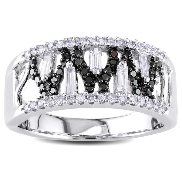 Miadora Signature Collection 14k White Gold 1/2ct TDW Black and White Diamond Ring (G-H, I1-I2)