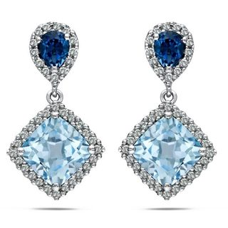 Miadora Sterling Silver 2 3/4ct TGW Sky Blue Topaz and 1/5ct TDW Diamond Earrings (G-H, I2-I3)