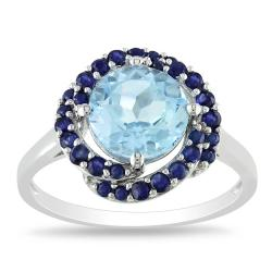 Miadora Sterling Silver 2 7/8ct TGW Sky Blue Topaz and Sapphire Cocktail Ring