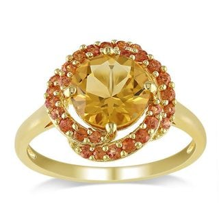 Miadora Yellow Silver 2 1/3ct TGW Citrine and Orange Sapphire Cocktail Ring