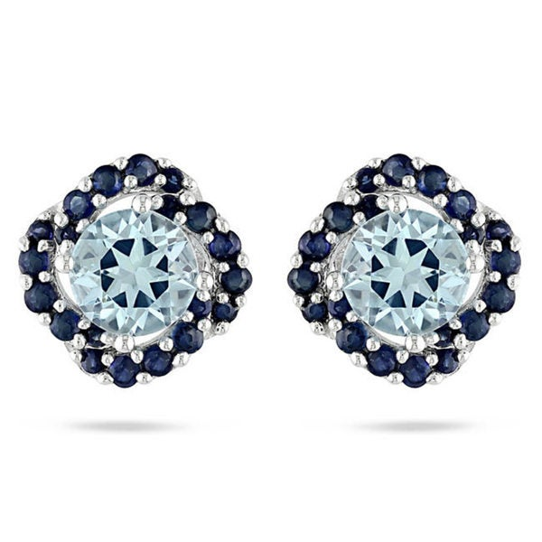 Miadora Sterling Silver 2 3/4ct TGW Sky Blue Topaz and Sapphire Stud Earrings