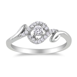 Miadora 10k White Gold 1/5ct TDW Round Diamond Ring (G-H, I2-I3)