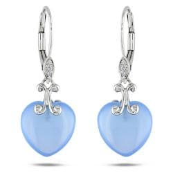 Miadora 10k White Gold 9 1/2ct TGW Chalcedony and Diamond Earrings