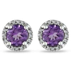 Miadora 10k White Gold 4/5ct TGW Amethyst and Diamond Accent Earrings