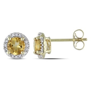 Miadora 10k Yellow Gold 7/8ct TGW Citrine and Diamond Accent Earrings