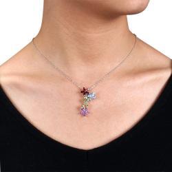 Miadora Sterling Silver Garnet, Peridot and Amethyst Necklace