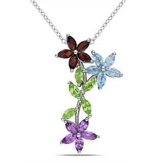 Miadora Sterling Silver Garnet, Peridot and Amethyst Necklace
