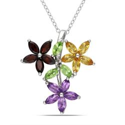 Miadora Sterling Silver Garnet, Peridot, Amethyst and Citrine Necklace