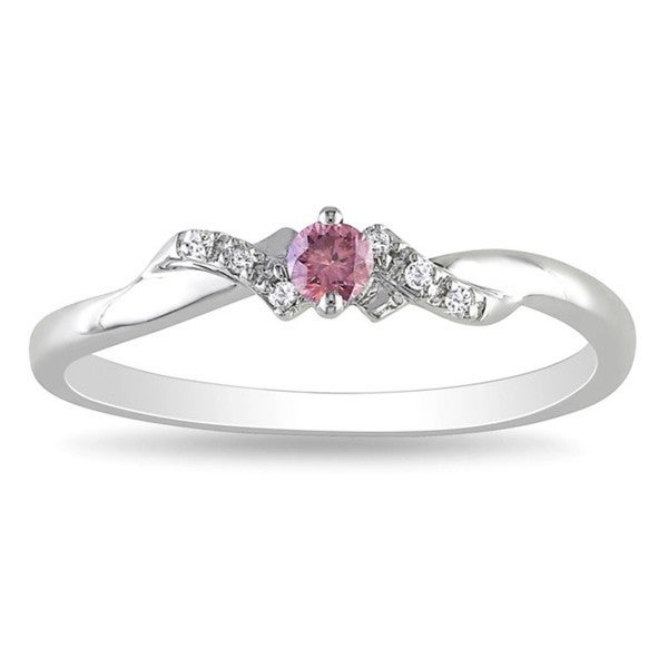 Miadora Sterling Silver Pink and White Diamond Ring