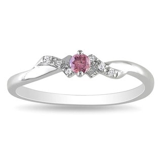 Miadora Sterling Sliver 1/10ct TDW Pink/ White Diamond Ring (G-H, I1-I2)