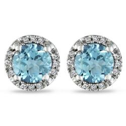 Miadora 10k White Gold 1ct TGW Blue Topaz and Diamond Accent Earrings