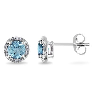 Miadora 10k White Gold 1ct TGW Blue Topaz and Diamond Accent Earrings with Bonus Earrings