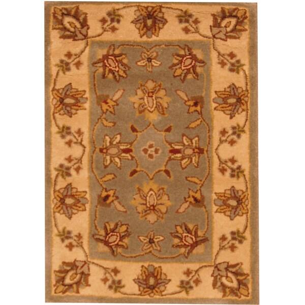 Indo Tufted Mahal Light Blue/ Beige Wool Rug (2' x 3')
