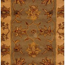 Indo Tufted Mahal Light Blue/ Beige Wool Rug (2' x 3')
