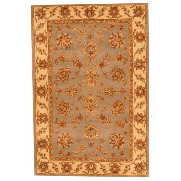 Indo Tufted Mahal Light Blue/ Beige Wool Rug (4' x 6')