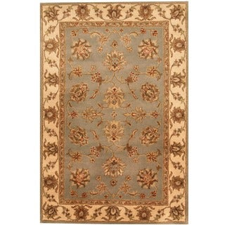 Indo Tufted Mahal Light Blue/ Beige Wool Rug (4' x 6')