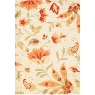 Indo Hand-tufted Floral Beige/ Red Wool Rug (4' x 6')