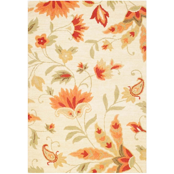 Herat Oriental Indo Hand-tufted Floral Ivory/ Peach Wool Rug (4' x 6')