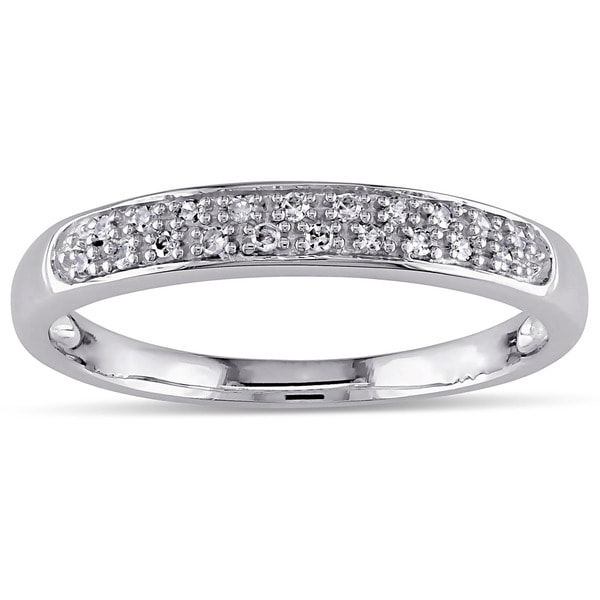Haylee Jewels 10k White Gold 1/10ct TDW Diamond Band (H-I, I2-I3)
