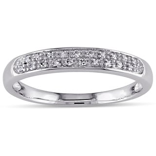 Miadora 10k White Gold 1/10ct TDW Diamond Band (H-I, I2-I3)