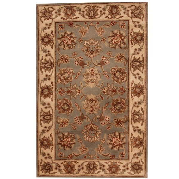 Herat Oriental Indo Hand-tufted Mahal Floral Light Blue/ Beige Wool Rug (3'3 x 5'3)