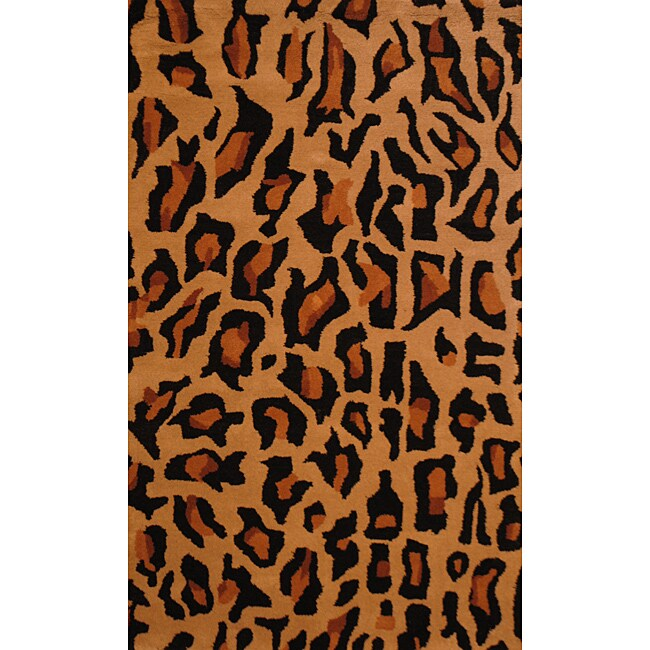 Indo Hand-tufted 'Cheetah' Animal-print Black Wool Rug (3'3 x 5'3)