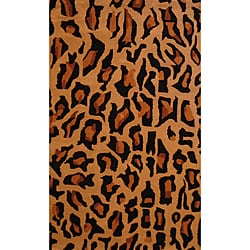 Indo Hand-tufted 'Cheetah' Animal-print Black Wool Rug (3'3 x 5'3)
