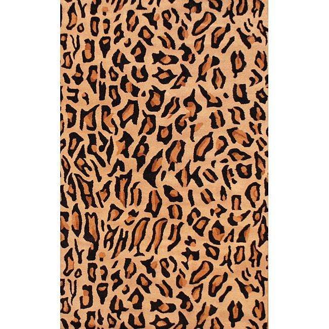 Herat Oriental Indo Hand-tufted Cheetah-print Black Wool Rug (5' x 8')