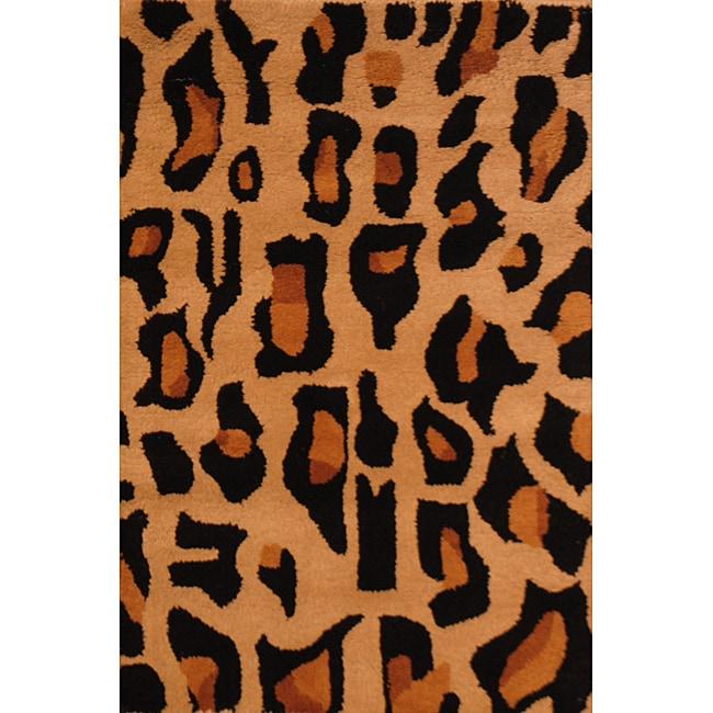 Indo Hand-tufted Cheetah Animal-print Black Wool Rug (2' x 3')