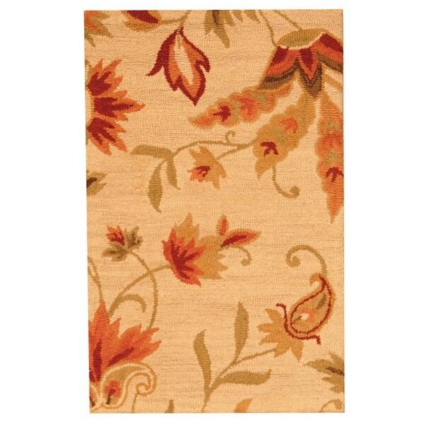 Herat Oriental Indo Hand-tufted Beige Floral Wool Rug (2'6 x 4')
