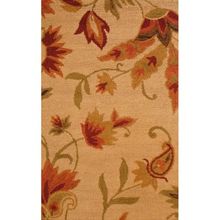 Indo Hand-tufted Beige Floral Wool Rug (2'6 x 4')