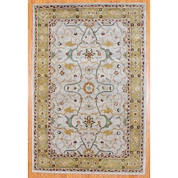Indo Tufted Mahal Beige/ Gold Wool Rug (6' x 9')