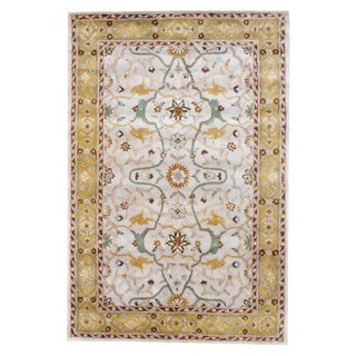 Herat Oriental Indo Tufted Mahal Beige/ Gold Wool Rug (6' x 9')