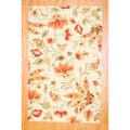Indo Hand-tufted Beige Floral Wool Rug (5' x 8')