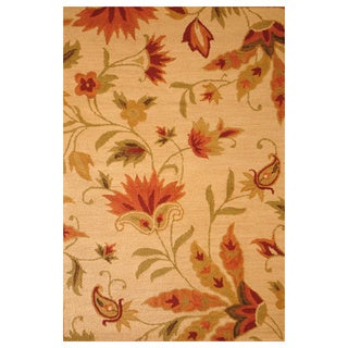 Indo Hand-tufted Beige Floral Wool Rug (5&#39; x 8&#39;)