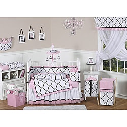 Sweet Jojo Designs Pink, Black and White Princess 9-piece Crib Bedding Set