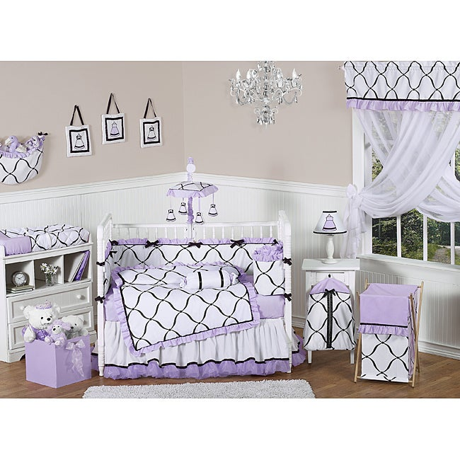 Black And White Flower Dots  Piece Crib Bedding Set