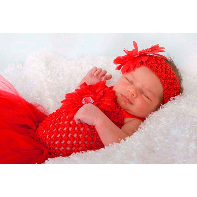 Baby Girls' Hand-crafted Bright-red Tulle Tutu-dress and Headband Set
