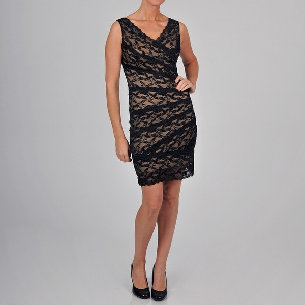 Onyx Nite Women's All Over Lace Dress with Beading