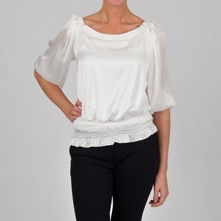 Onyx Nite Women's White Satin Peasant Top