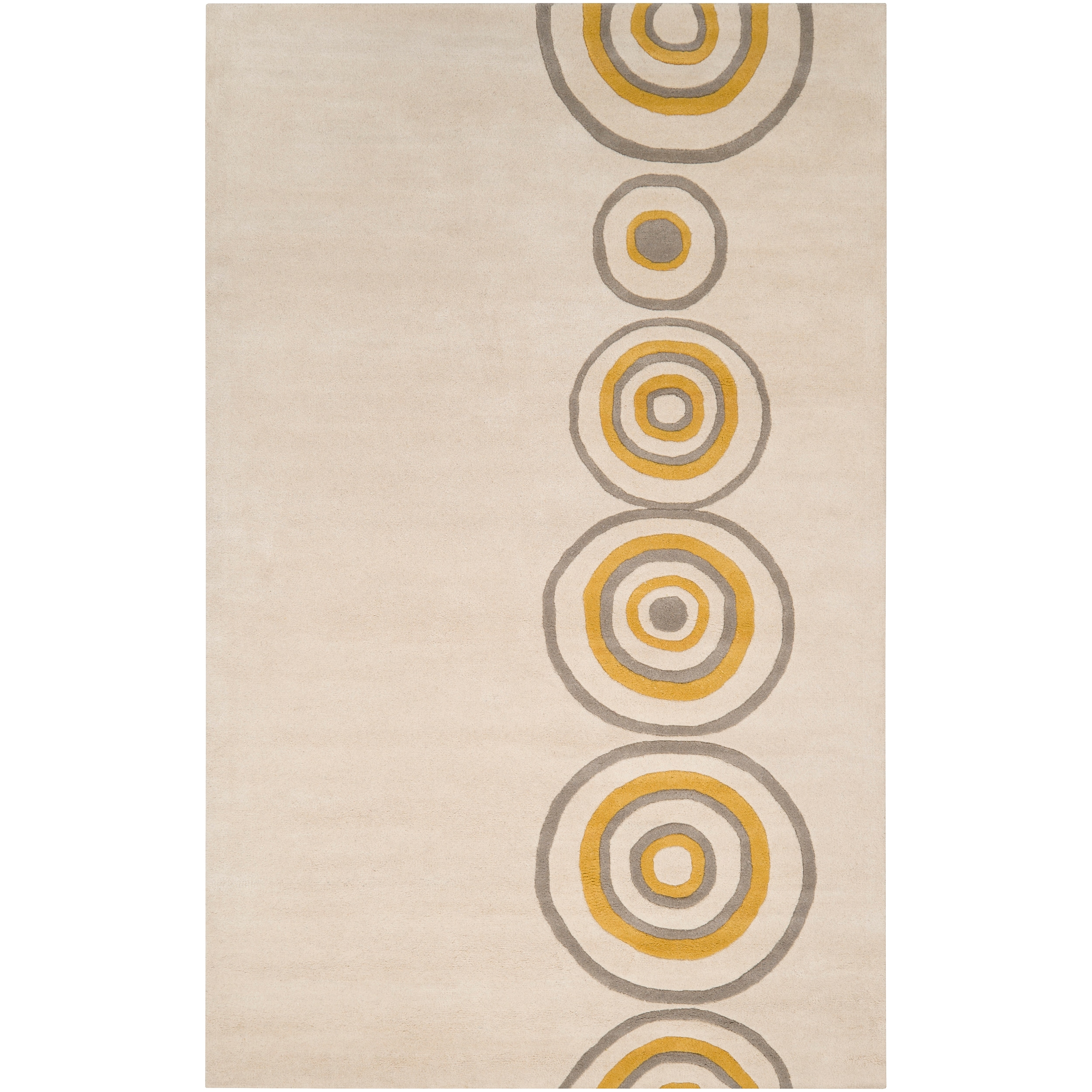 Hand-tufted Contemporary Beige Circles Axbridge New Zealand Wool Abstract Rug (5' x 8')