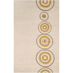 Hand-tufted Contemporary Ivory Circles Axbridge New Zealand Wool Abstract Rug (5' x 8')