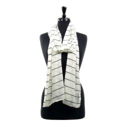 LA77 White/Black Striped Scarf