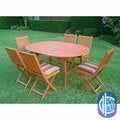 "International Caravan Royal Tahiti ""Palma"" Seven Piece Outdoor Dining Group Oval Butterfly Extension Table"