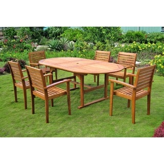 International Caravan Royal Tahiti 'Cordova' 7-piece Oval Butterfly Extension Table Outdoor Dining Set