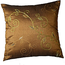 LNR Home Winslit Cedar Embrodered Vines 18-inch Pillow