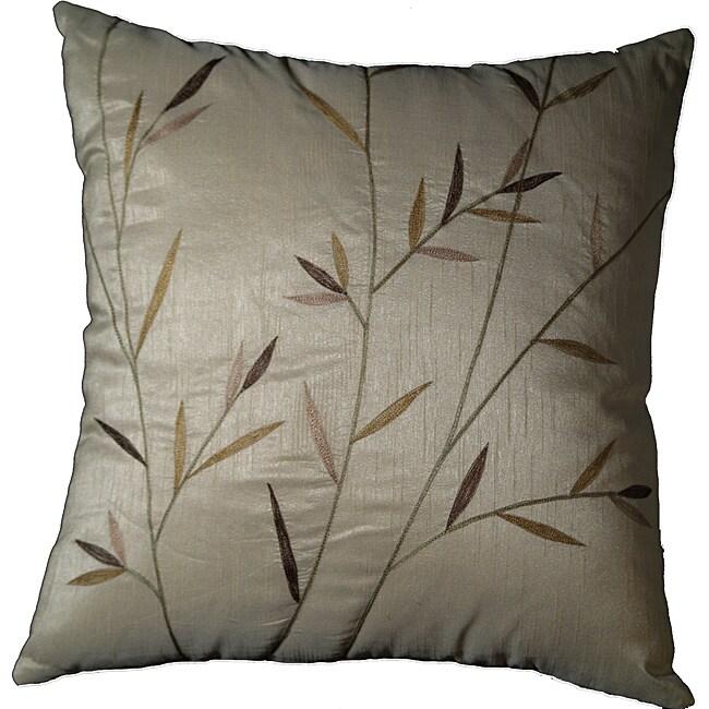 LNR Home Sedge Leaves Ivory 18-inch Pillow