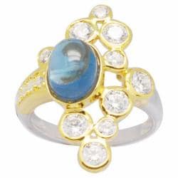 De Buman 18K Gold and Silver Blue Round-cut Topaz and Round Cubic Zirconia Ring