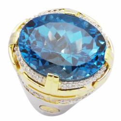 De Buman 18K Gold and Silver Blue Round-cut Topaz and Round-cut Cubic Zirconia Ring